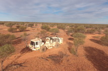 A vibroseis truck in the outback. Image courtesy of Terrex Seismic